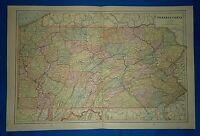 Vintage 1892 MAP ~ PENNSYLVANIA ~ Old Antique Original Atlas Map