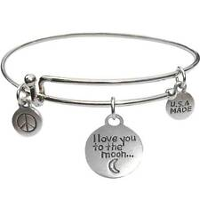The Moon - Usa Made - BbandToTheMoon Bangle Bracelet and I Love You To