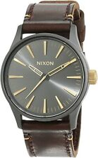 Nixon Men's Sentry 38 A377595-00 38mm Gray Dial Leather Watch