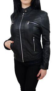 Giubbotto donna Diamond eco pelle nero slim giubbino giacca bomber moto