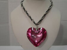 NEW LARGE PINK PUFFED SOLID HEART CRYSTAL PENDANT AND SILVERTONE NECKLACE