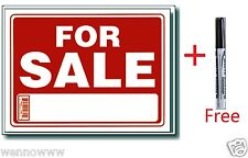 """2 Pcs 9 x 12 Inch Plastic """" For Sale """" Sign with a Free Erasable Marker"""