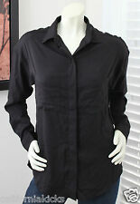 HURLEY Women's Creature Woven Top sz L Large Solid Black Polyester Blouse Shirt