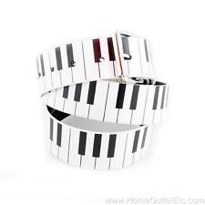 Piano Keys Printed Leather Belt Keyboard 80's Retro Style Unisex Mens Womens