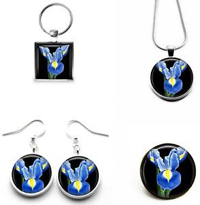 Iris Flower Art Earrings Necklace Keyring Brooch