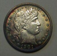 1901 Barber Silver Quarter Grading CH BU Original Uncleaned Coin  g32