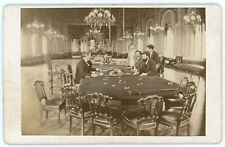 RE WIESBADEN CASINO INTERIOR GAMING TABLES CHIPS 1869 ANTIQUE PHOTO