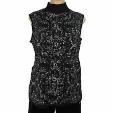 Women's Sweater Vest Floral Black & White Dana Buchman Size L New