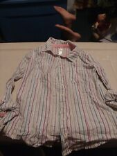 Cherokee Girls Striped Long Sleeved Button Up Shirt Top Blouse Sz L 10/12