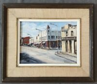 "Vintage Painting Oil on Canvas Framed~Matted~Signed~City~Street~19.5"" x 17""~Blue"