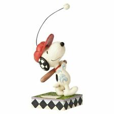 "Enesco Peanuts by Jim Shore Snoopy Beagle at Bat Figurine, 7.5"", White"