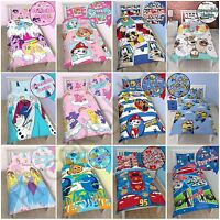 KIDS GIRLS BOYS SINGLE DUVET COVER SETS - PRINCESS, NEMO, CARS, MINIONS