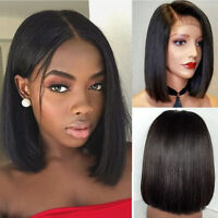 Women Fashion Brazilian Glueless Short Straight Bobo Wig Front  Hair Side-parted