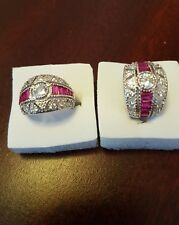 925 STERLING SAPHIRE&RUBY RING .SIZE M-O-Q-S. FULLY STAMPED. Uk