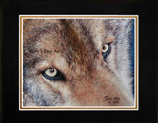 """Matted Timber Wolf Art Print """"Wolf Eyes"""" 8""""x10"""" Mat by Realism Artist Roby Baer"""