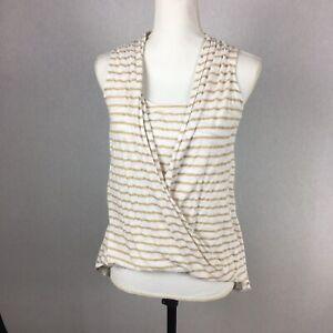 White House Black Market Womens XS Striped Blouse Layered Tan White. Z4