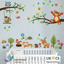 16s6-squirrel/fox/bird / deer/owl/teddy bear/tree/nursery Bebé Niño pegatinas de pared