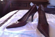 Miu Miu Brown Reptile Embossed Leather Pointed Toe Pumps SZ 38