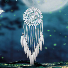 Dream Catcher White wall hanging decoration bead ornament feathers long 30 ""