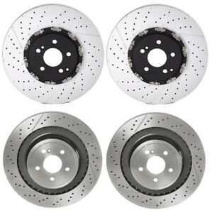 Brembo Front Rear PVT Drilled Slotted Brake Disc Rotors Kit For MB W212 E63 AMG