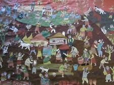 LARGE WALL HANGING HAND MADE TAPESTRY CHAGALL STYLE FIGURES VILLAGE FOLK ART BIG