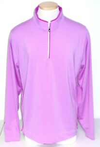 NWT Footjoy Lightweight Striped Quarter-Zip Pullover, Large, Pink / White, 25242