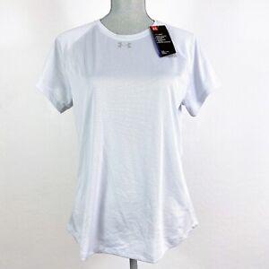 Under Armour L Women Running T-shirt Heatgear Short Sleeve Fitted Silver New