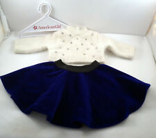American Girl Hanukkah Outfit Blue Velvet Skirt Sweater Hanger Velour Jewels