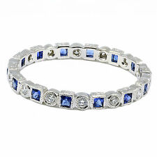 14k White Gold Eternity Band Blue Sapphire/diamond Ring Milgrain Pave Setting