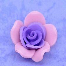 5 x Purple Clay Flower Charm Beads Craft Jewellery - 24mm - L09013