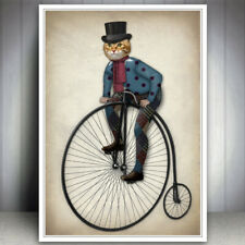 GINGER CAT HEAD ANIMAL PENNY FARTHING OLD BICYCLE BIKE CYCLE ART PRINT POSTER