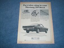 "1965 Ford Mustang Parts Vintage Ad ""Put a Cobra Sting in Your Mustang 289 Block"""