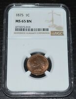 1875 1C Indian Head Cent Variety VP-002 Graded by NGC as MS 65 BN