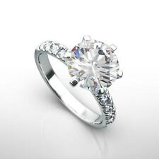 DIAMOND ENGAGEMENT RING 2.00 CT D SI1 round 14K WHITE GOLD WEDDING ENHANCED H