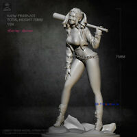 Unpainted 1/24 Scale Joker Resin 75mm H Harley Quinn Model Kits GK Unassembled