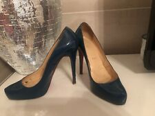 Christian Louboutin Blue Patent Leather Rolando Pumps Heels 38.5 (7-7.5)