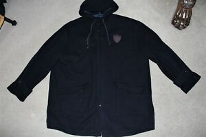 Men Sz X-Large Polo Ralph Lauren Vintage Crest Wool Duffle Hood Coat Jacket Navy