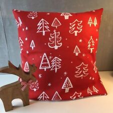 "Cheery Festive 16"" x 16"" Square Cushion Cover in Red with Christmas Tree Design"
