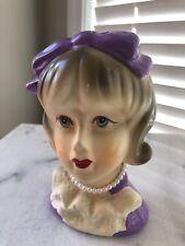 RARE Head Vase Lady #4122  Beautiful blue eyes/beads/purple dress & bow &hair