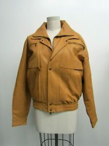 Jan Of Beverly Hills Beige Leather Jacket / Fake Fur Lining / Condition 10/10