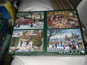 Falcon Jigsaw Puzzle 4 x 1,000 Pieces FAMILY TIME AT CHRISTMAS Pre Owned VGC