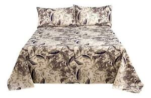 Tache Microfiber Abstract Wispy Leaf Taupe Grey Print Pattern Flat Sheet only