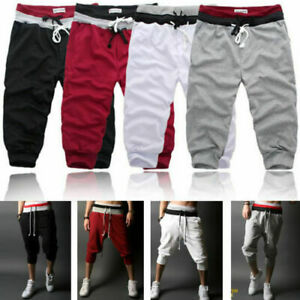 Men's 3/4 Trouser Joggers Shorts Sports Jogging Sweat Track Summer Cropped Pants