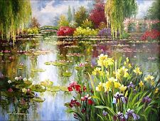 Claude Monet Colorful Water Lily Pond Repro 3, Hand Painted Oil Painting 36x48in