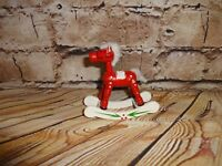 Vintage Wooden Wood Rocking Horse Red & White Tree Ornament Holiday Decoration