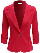 ELF FASHION Womens Casual Work Office Blazer Jacket with Plus Size (Size S~3XL)