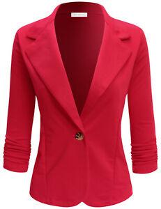 ELF FASHION Womens Casual Work Office Blazer Jacket with Plus Size (Size S~3XL)