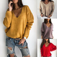 Women Sweater Loose Solid Fashion Cashmere Knitted Pullover V-Neck Long Sleeve
