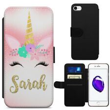 Personalised Unicorn Face Leather Flip Wallet Phone Case Cover iPhone Samsung