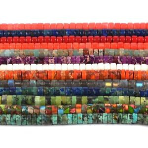 """6mm Multi-color gomstone heishi rondelle spacer loose beads 16"""""""